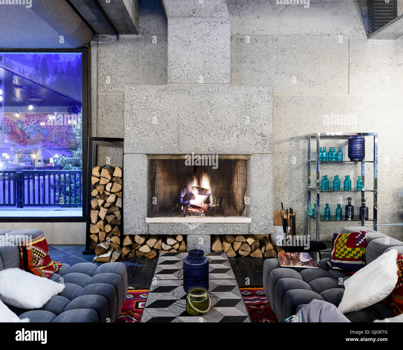 Fireplace at Hotel Totem. Flaine, Flaine, France. Architect: Marcel Breuer, 1969. Stock Photo