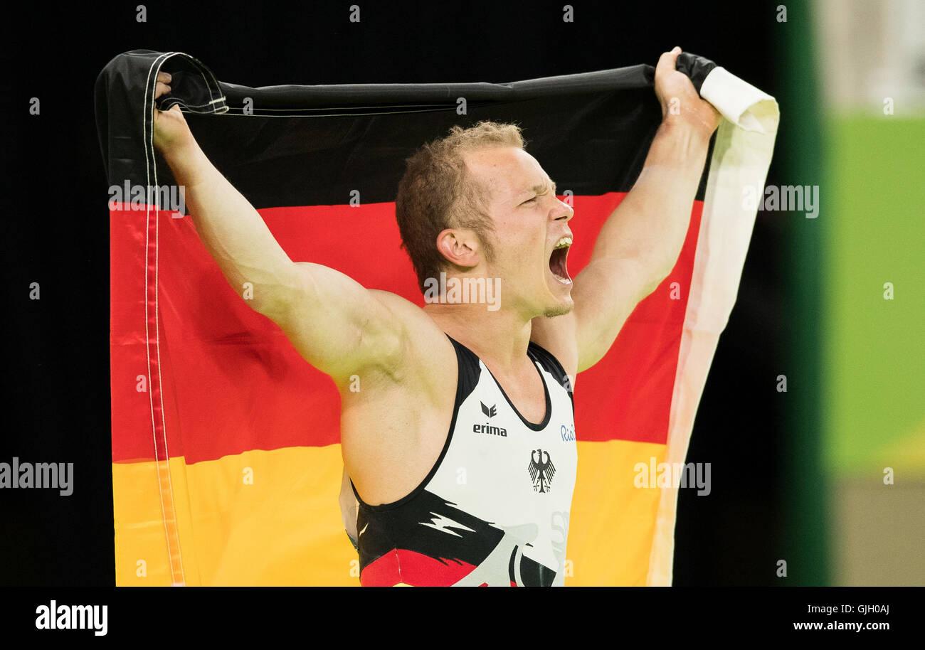 Rio de Janeiro, Brazil. 16th August, 2016. OLYMPICS 2016 ARTISTIC GYMNASTICS - Fabian Hambuechen during the final - Stock Image