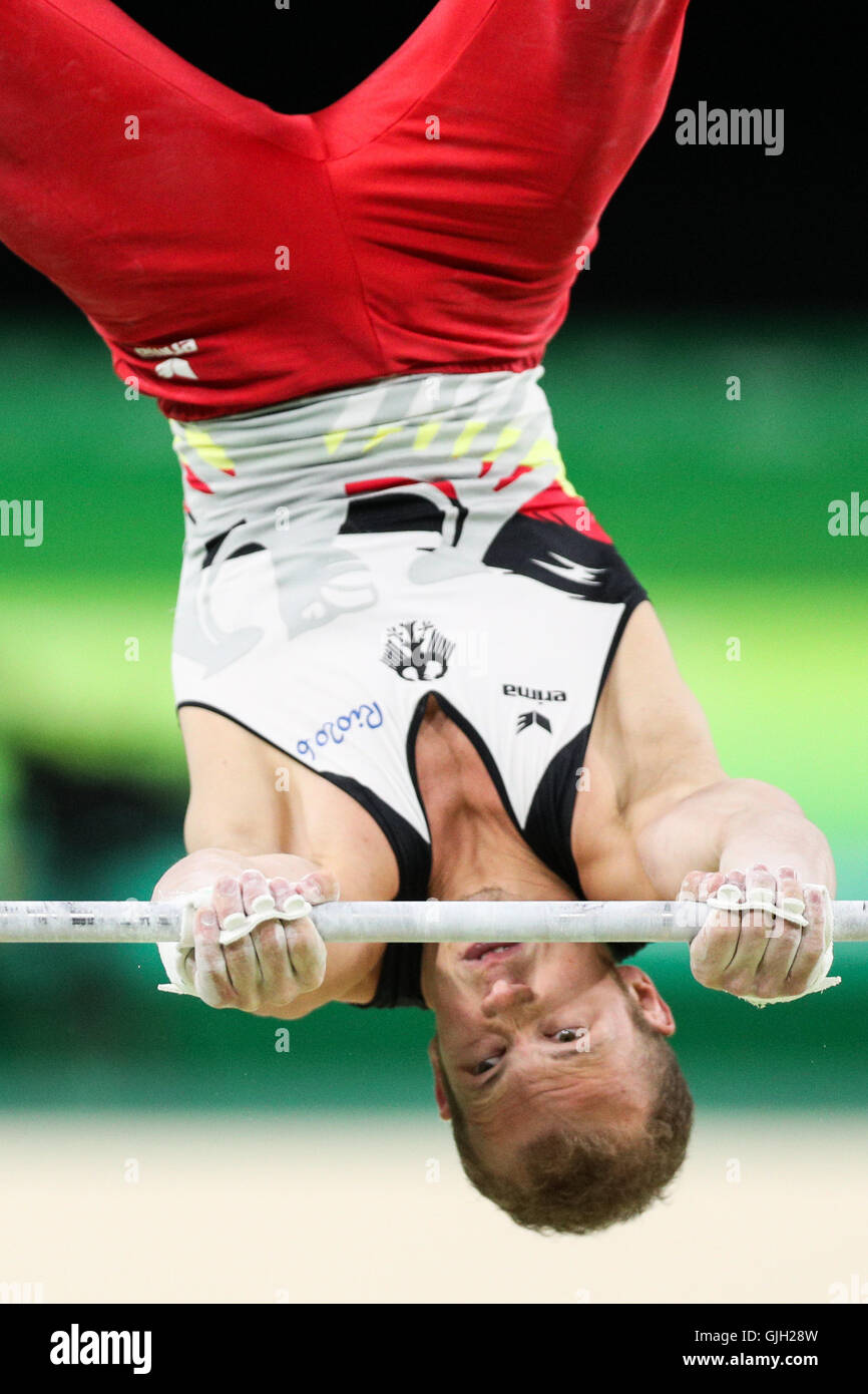 Rio De Janeiro, Brazil. 16th Aug, 2016. Germany's Fabian Hambuechen competes during the men's horizontal - Stock Image