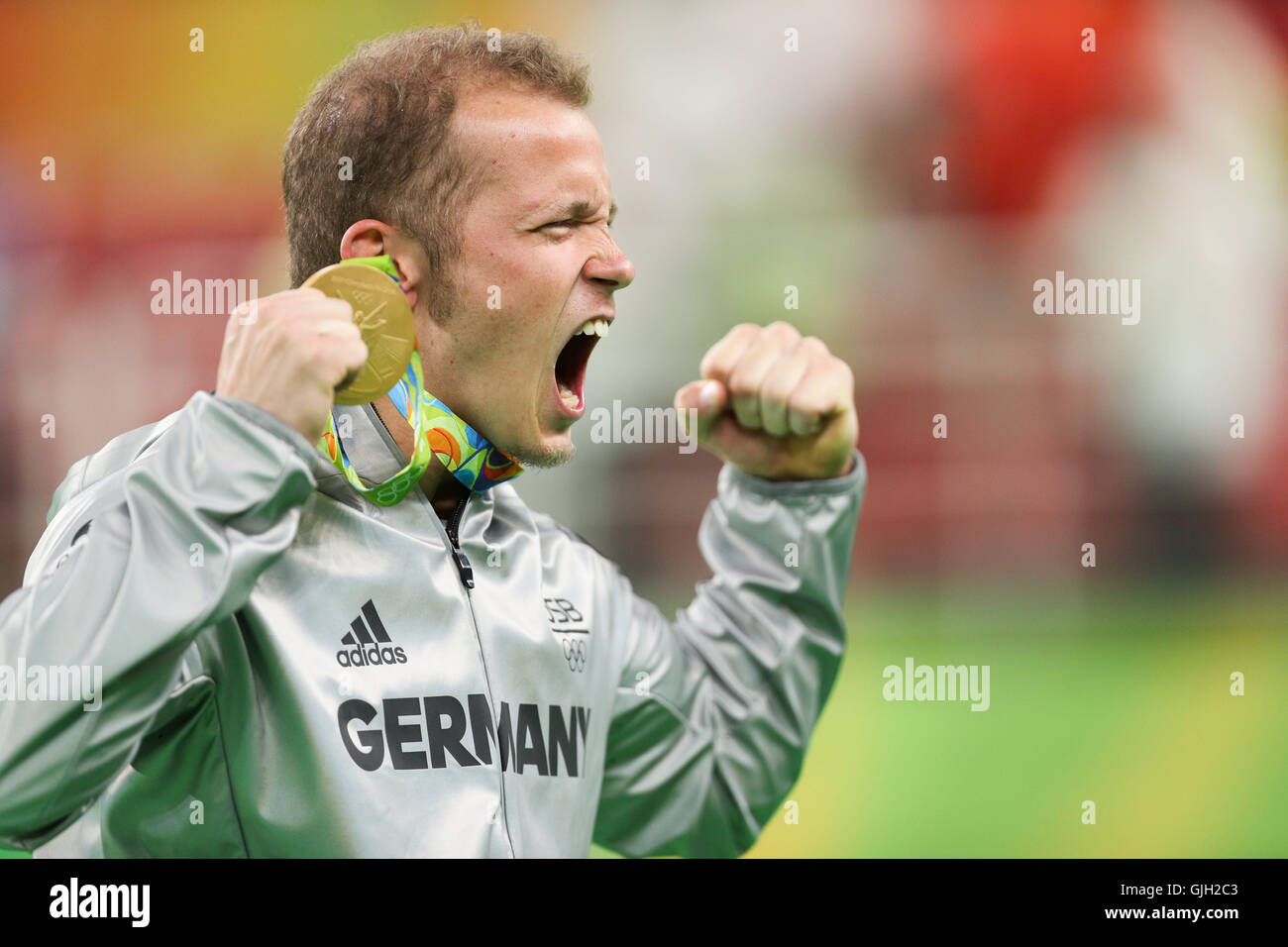 Rio De Janeiro, Brazil. 16th Aug, 2016. Gold medalist Germany's Fabian Hambuechen attends the awarding ceremony Stock Photo