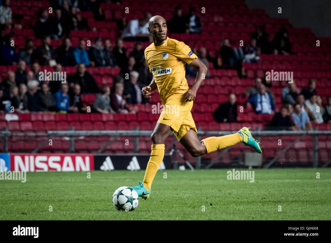 Denmark, Copenhagen, August 16th 2016. Carlao (5) of APOEL during the UEFA Champions League play-off match between Stock Photo