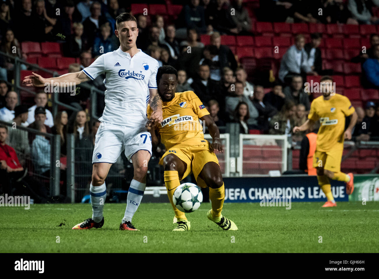 Denmark, Copenhagen, August 16th 2016. Benjamin Verbic (7) of FC Copenhagen during the UEFA Champions League play Stock Photo