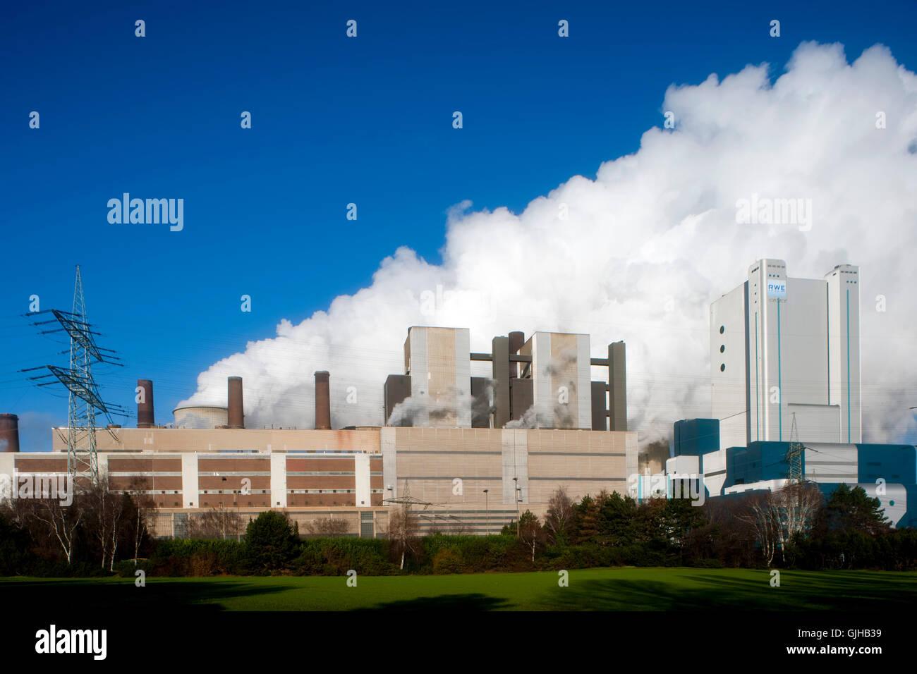 Deutschland, NRW, Rhein-Erft-Kreis, Bergheim, Niederauflem, RWE Kraftwerk. Das Kraftwerk Niederauflem ist ein von - Stock Image
