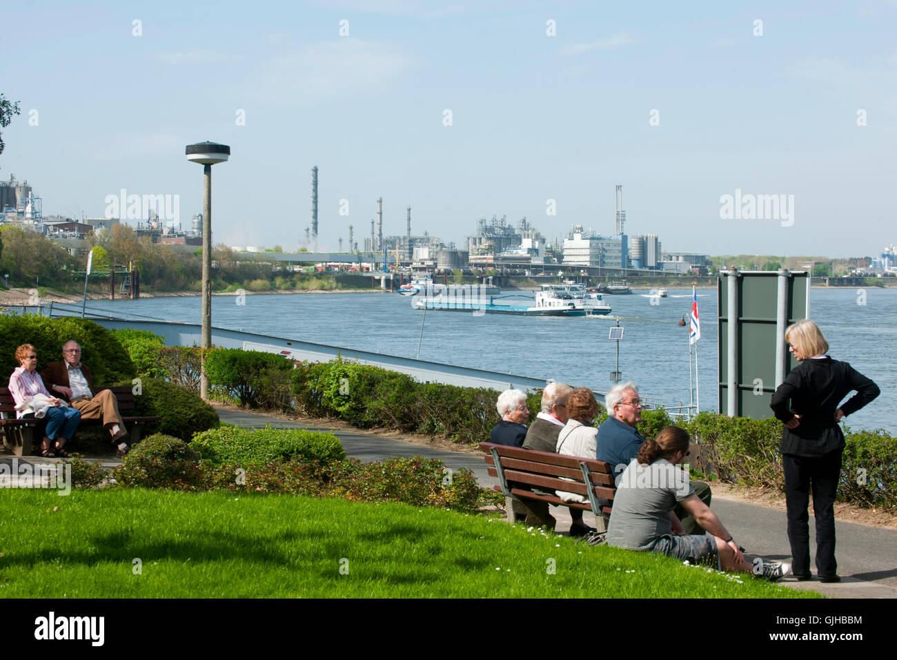 BRD, Deutschland, NRW, Wesseling, Park am Rheinufer - Stock Image