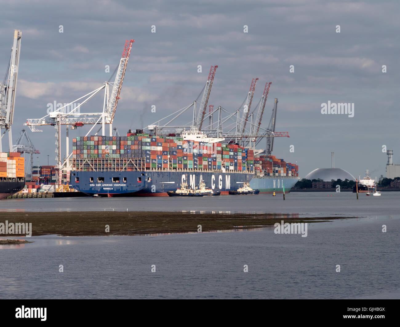 CMA CGM Amerigo Vespucci, container ship, docking at Container Port, Southampton Docks, Southampton, Hampshire, - Stock Image