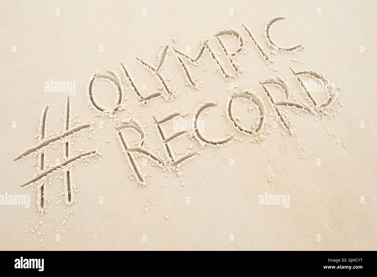 RIO DE JANEIRO - APRIL 4, 2016: Handwritten hashtag Olympic Record social media message handwritten in clean text - Stock Image