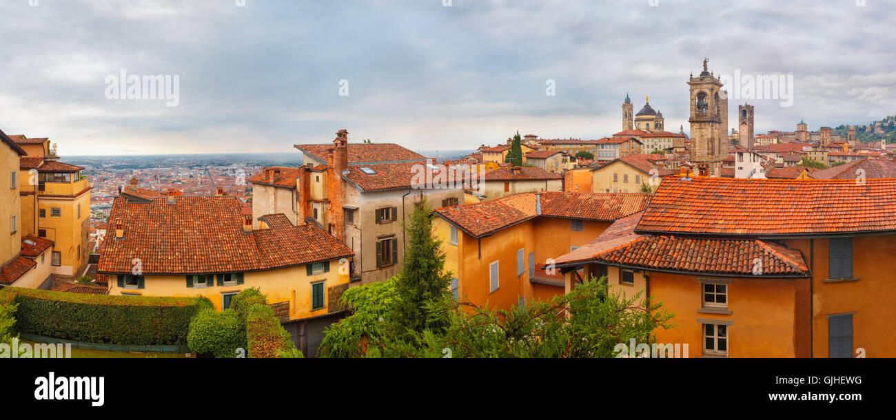 Upper town Citta alta, Bergamo, Lombardy, Italy - Stock Image