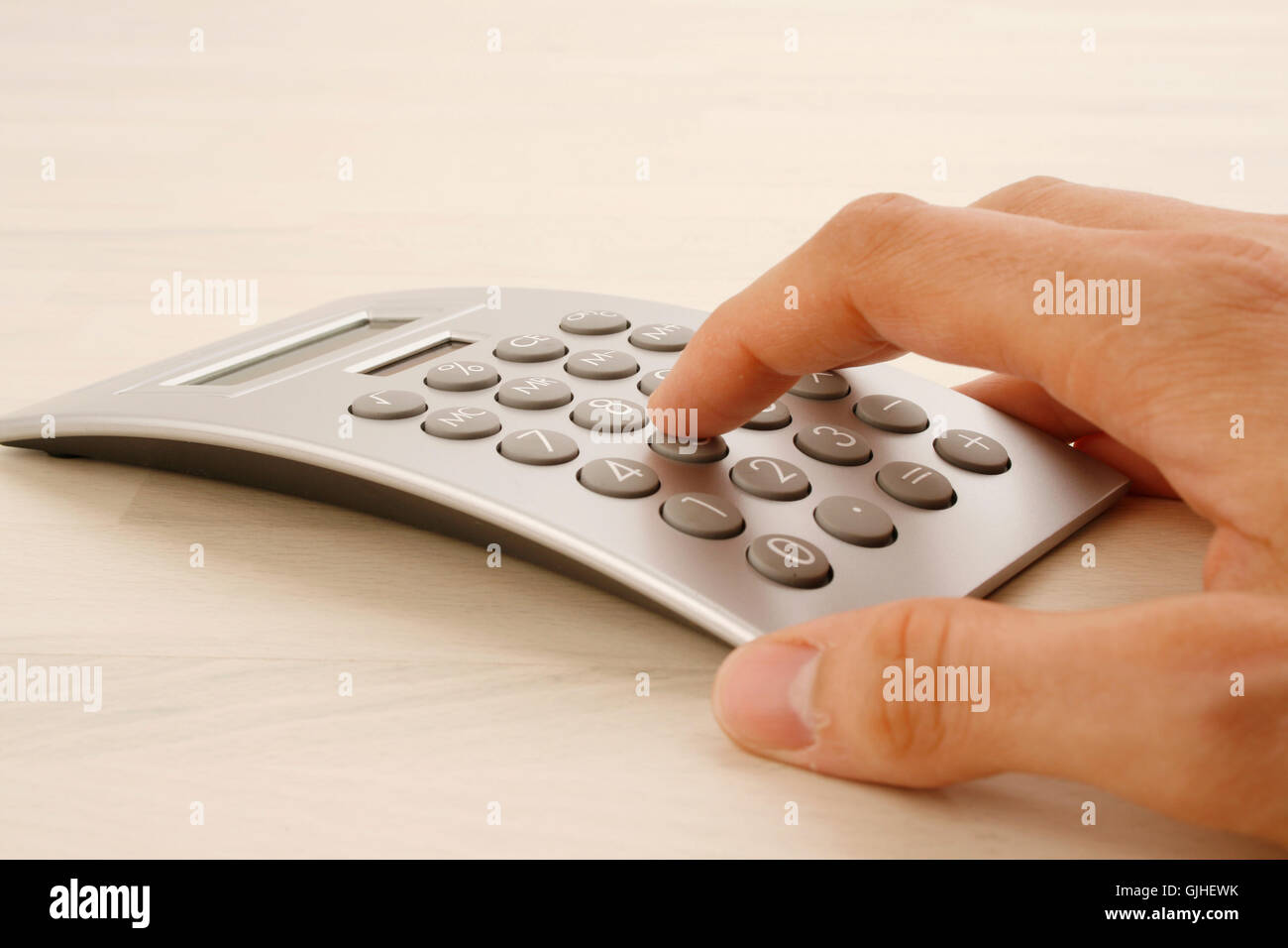 check calculation hand Stock Photo