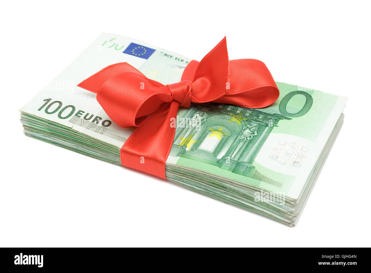 wad of money with red bow - Stock Image