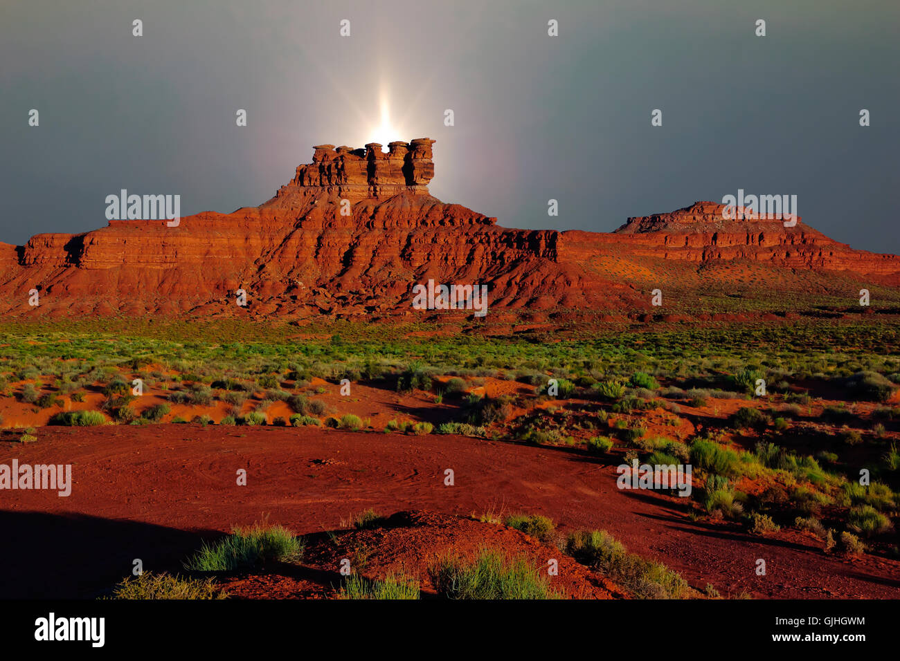 Valley of the Gods rock formation, Utah, America, USA - Stock Image