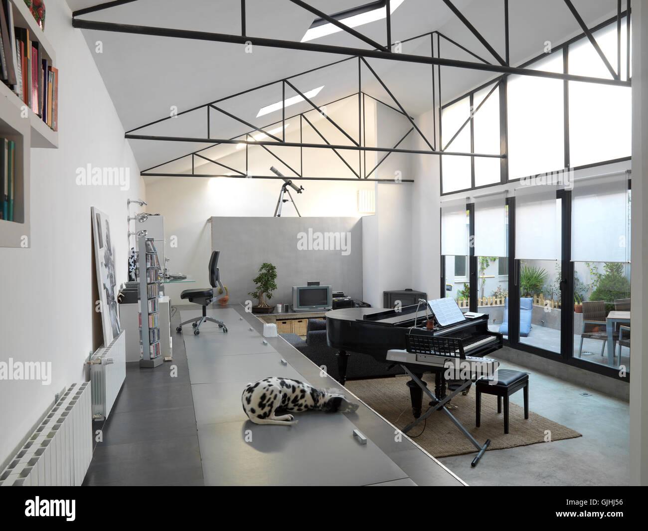 piano and dalmatian loft Stock Photo