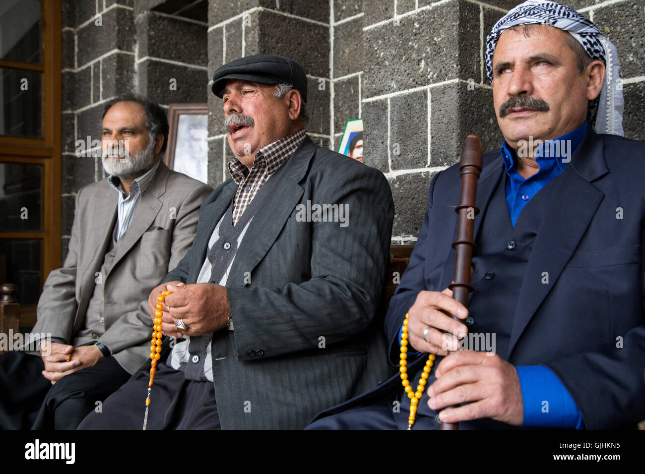 Dengbej singers  sing laments in dengbej house at  Diyarbakır. - Stock Image