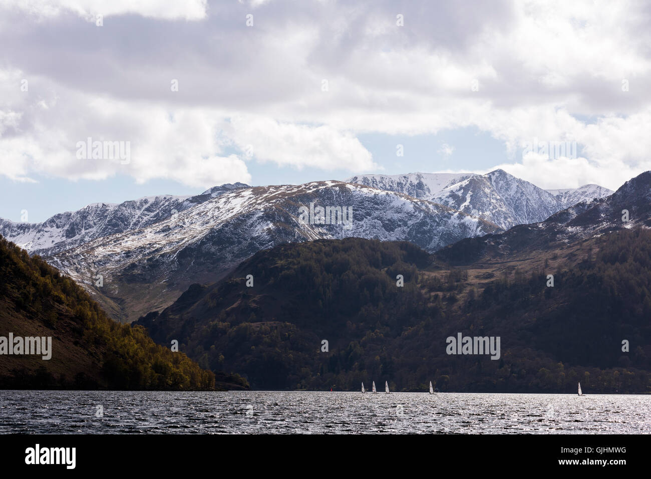 Wind surfers on Ullswater, Lake District - Stock Image