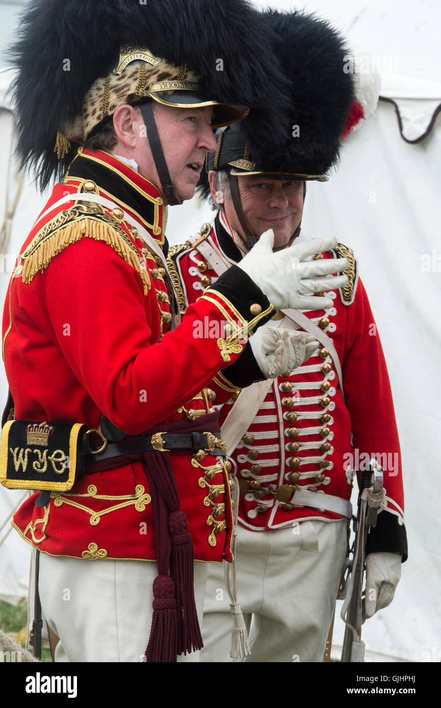 Worcester Yeomanry Cavalry Lt Colonel and Cornet uniforms at a Napoleonic war reenactment.  Spetchley Park, England - Stock Image
