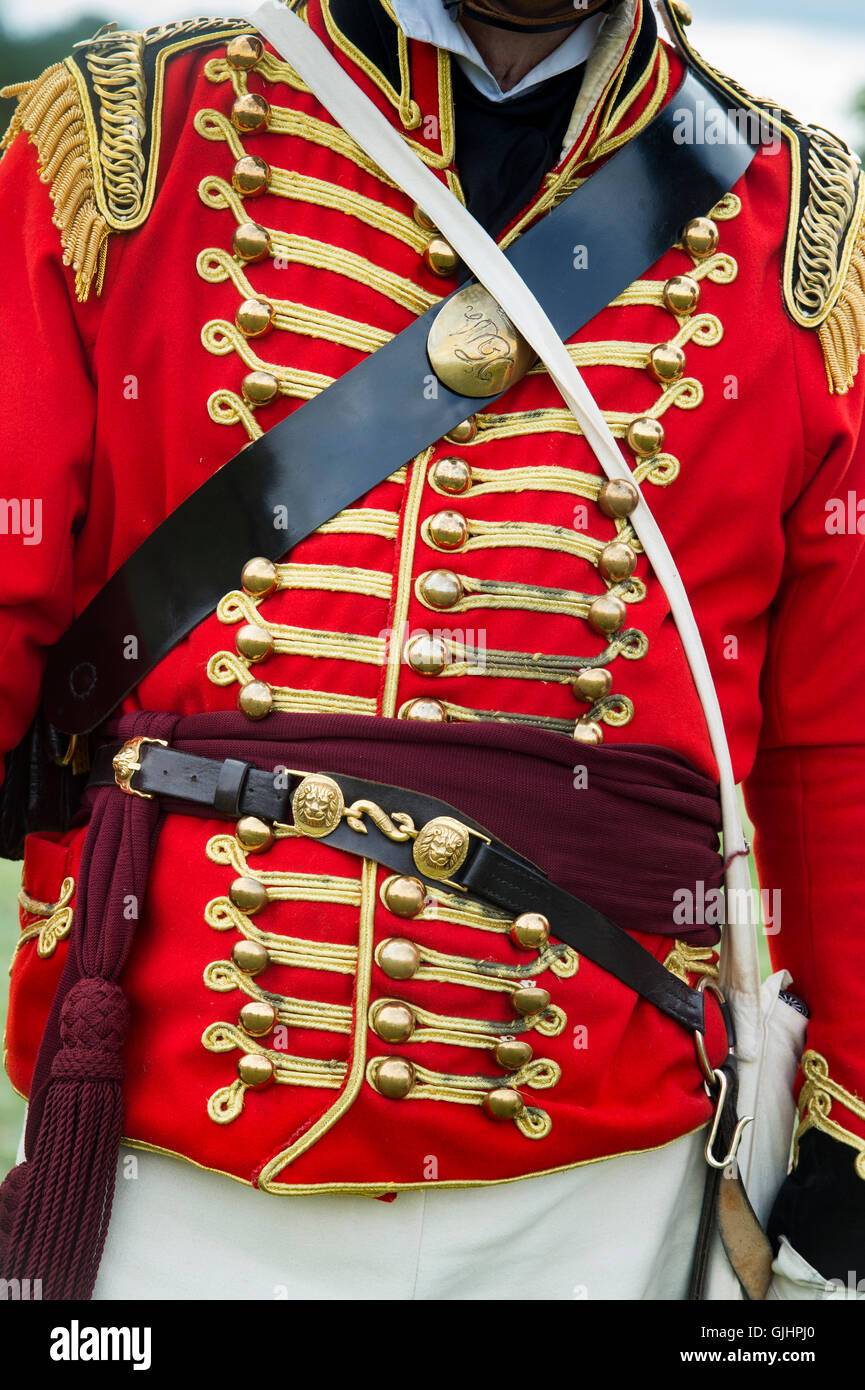 Worcester Yeomanry Cavalry Lt Colonel uniform at a Napoleonic war reenactment.  Spetchley Park, Worcestershire, - Stock Image