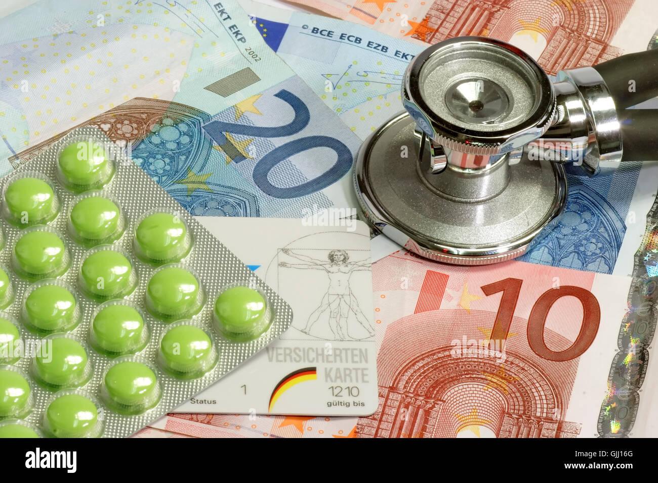 stethoscope money euro Stock Photo