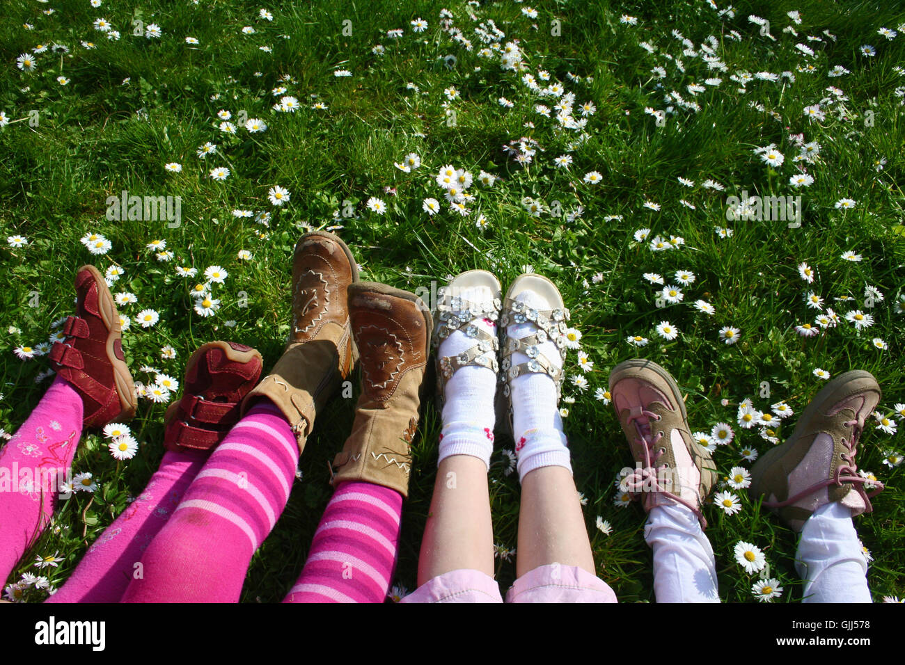 legs shoes ankle-strap sandal Stock Photo