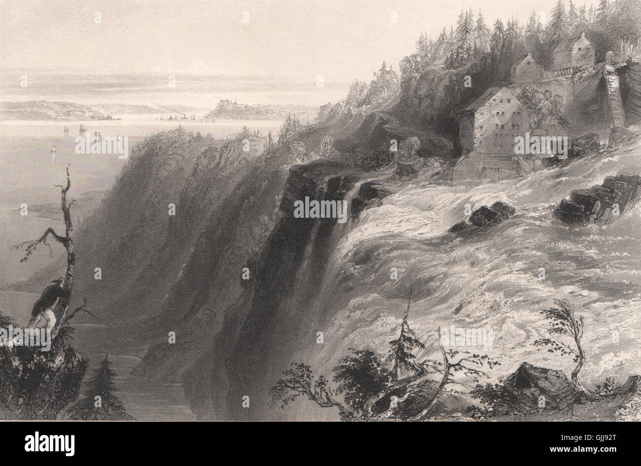 Chute Montmorency Falls From The Summit. Canada. BARTLETT, Print 1842