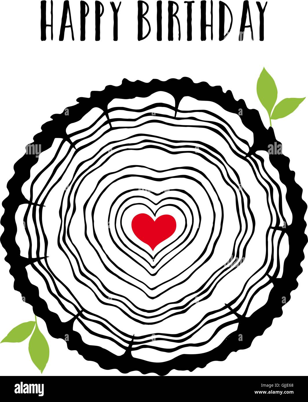 Happy birthday card with tree rings, leaves and red heart, vector illustration - Stock Image