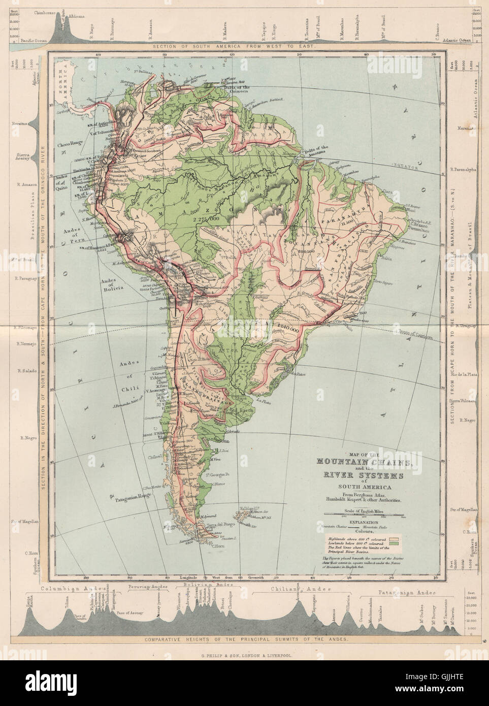 SOUTH AMERICA. Map Mountain Chains & river systems of, 1886 Stock ...