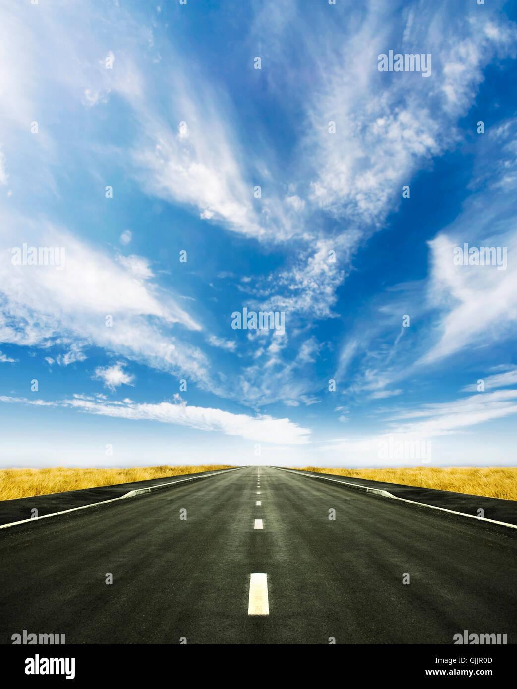 horizon road firmament - Stock Image