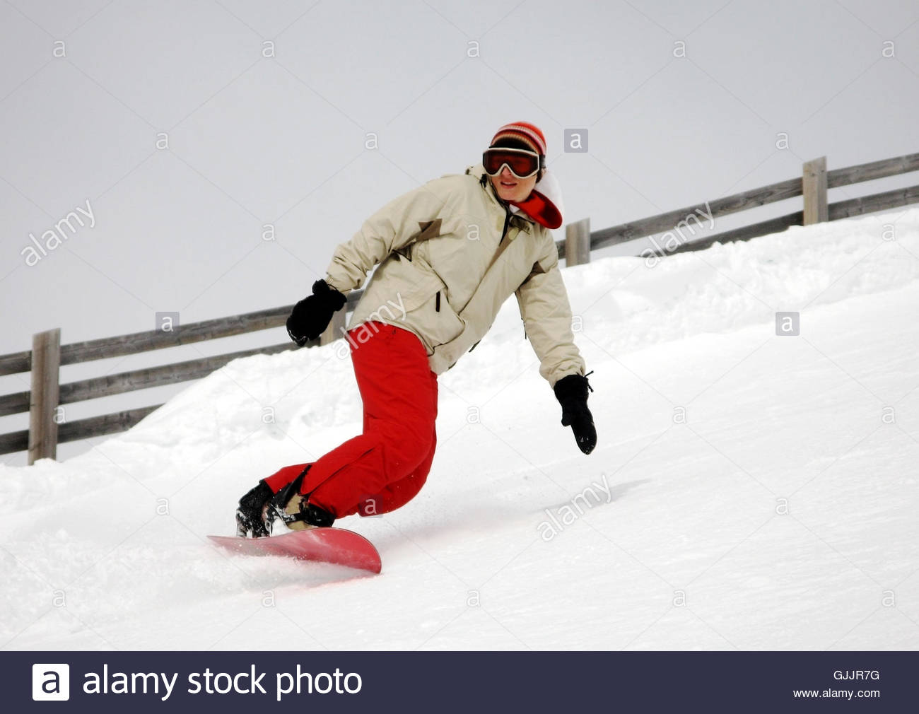 woman winter track - Stock Image