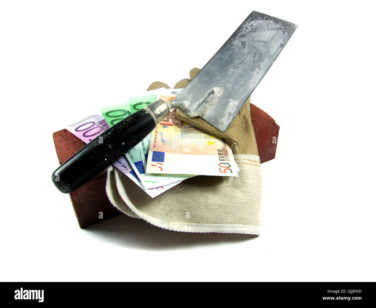 bank notes salary illicit work - Stock Image