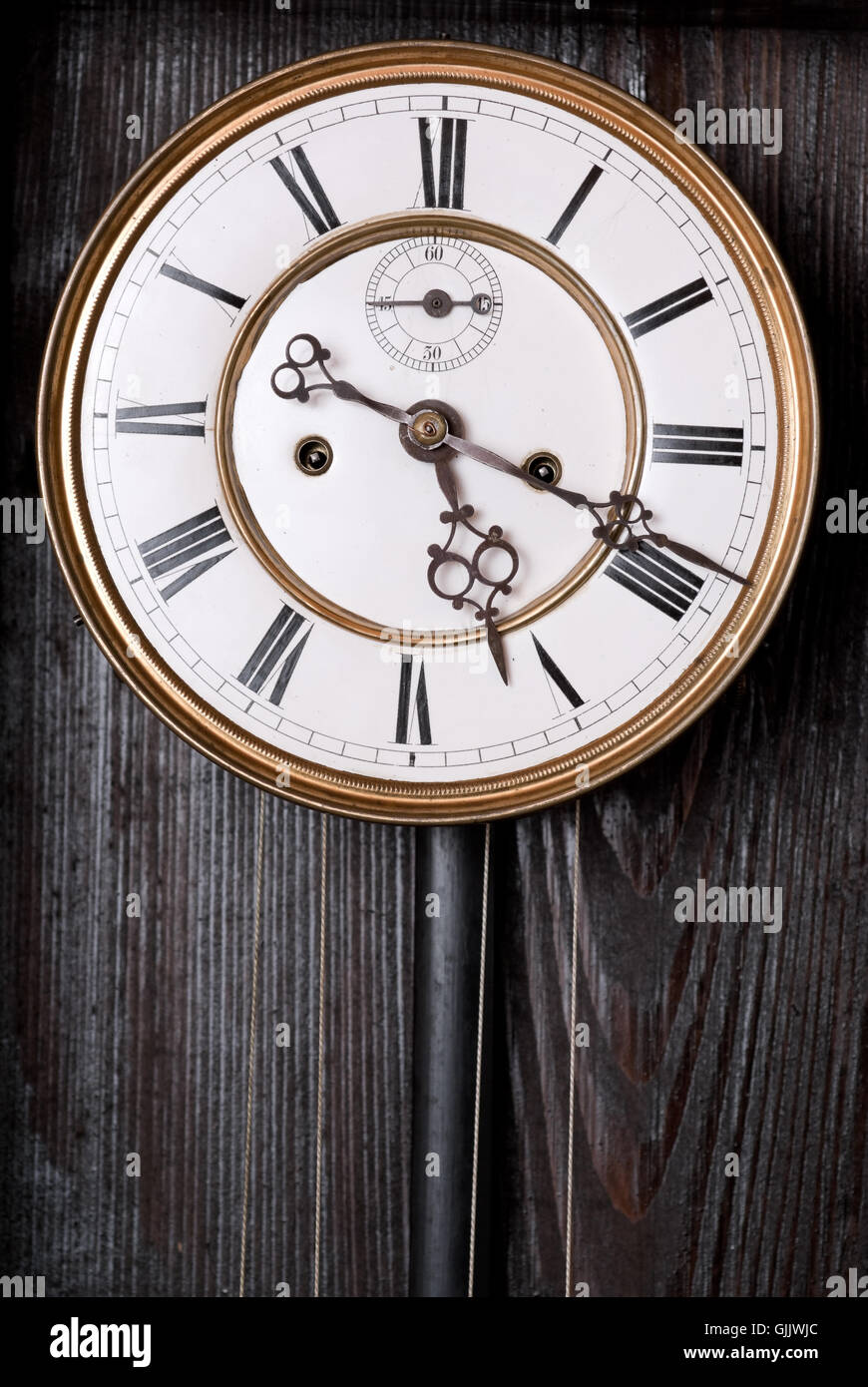 wood face clock - Stock Image