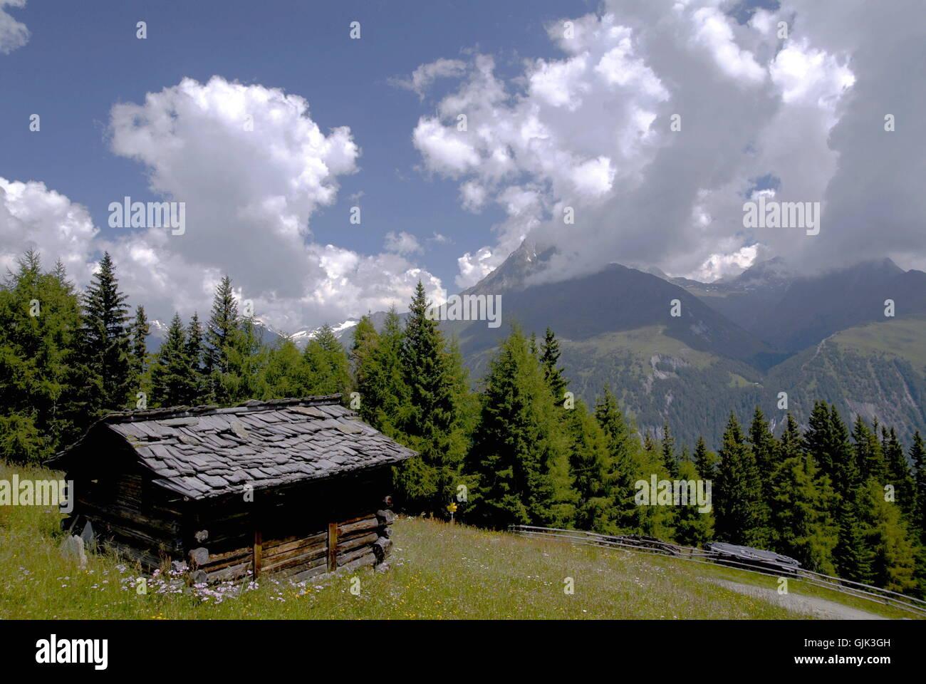 alp shingle roof mountain - Stock Image