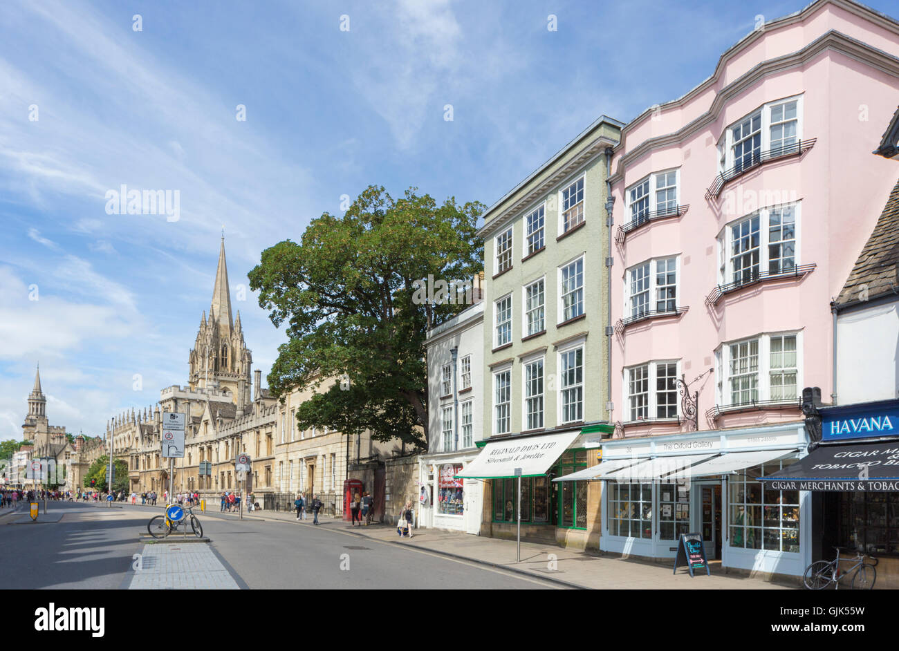 Colorful buildings in High Street, Oxford, Oxfordshire, England, UK - Stock Image