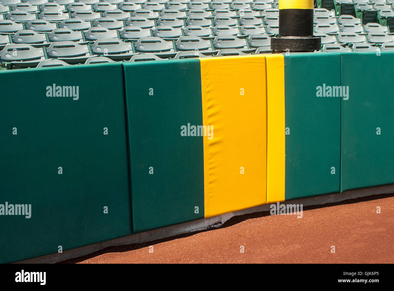 Baseball home run foul pole with copy space. - Stock Image
