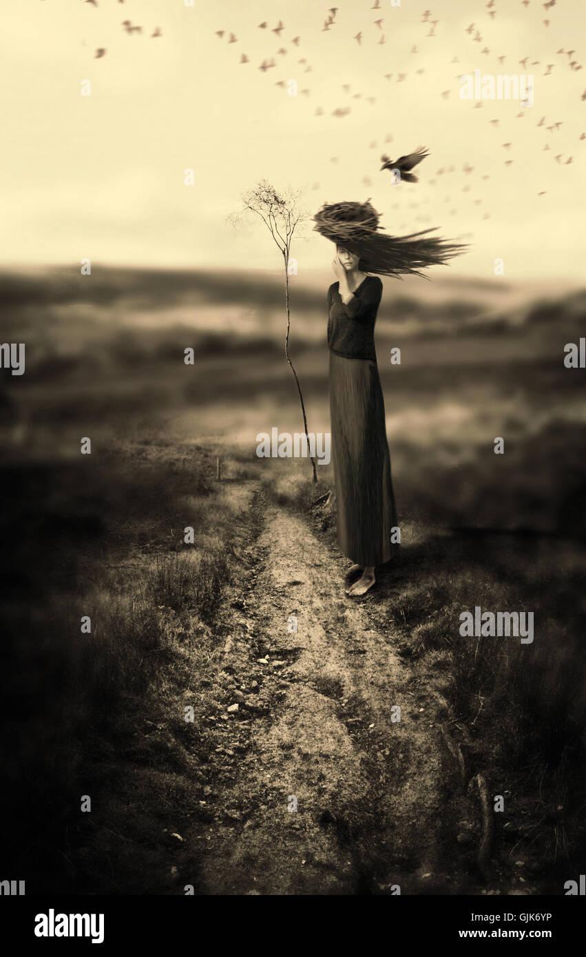 Woman,mother Earth,monochromatic,surreal art,conceptual art,fine art photography - Stock Image
