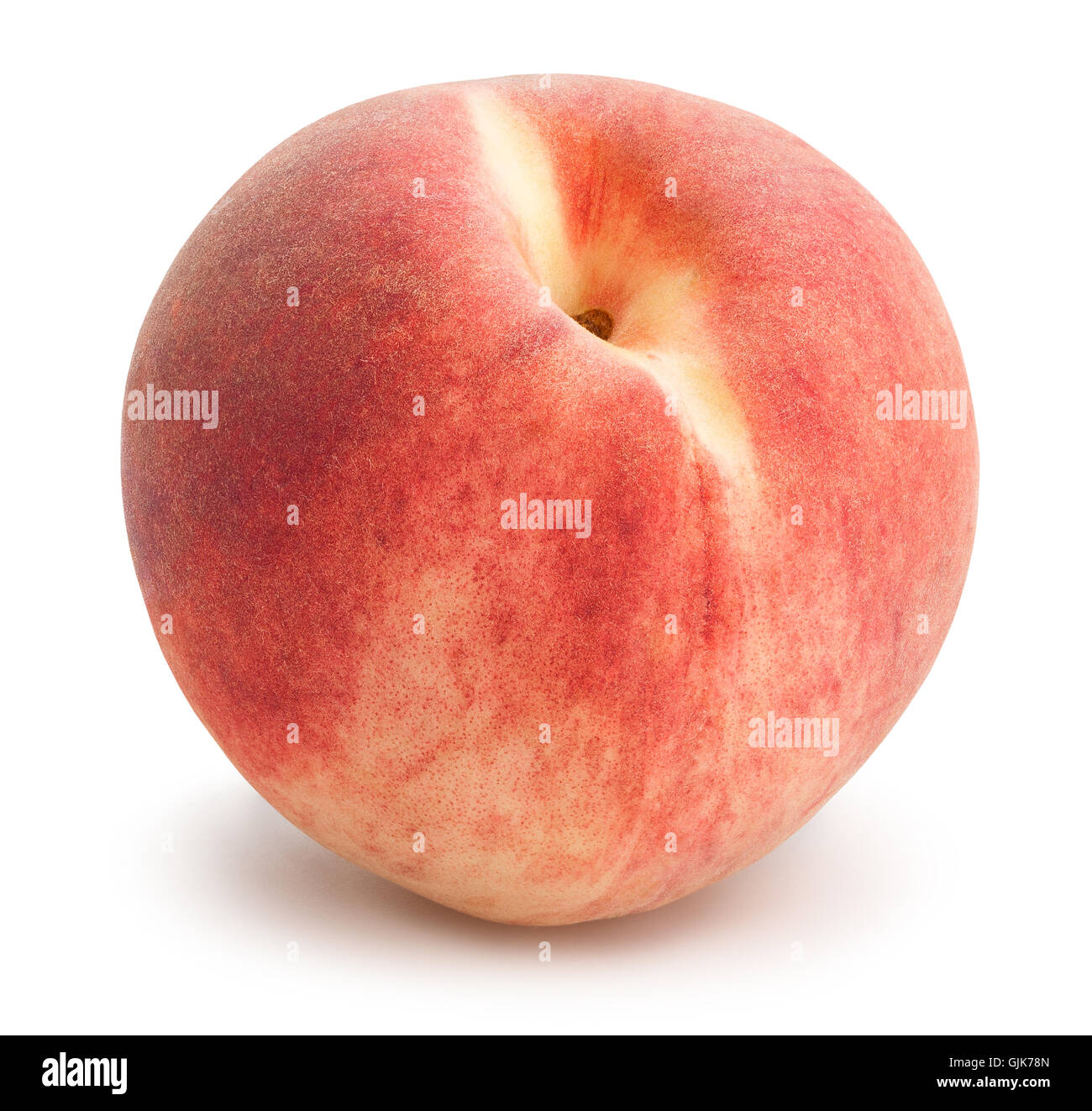 white peach isolated - Stock Image