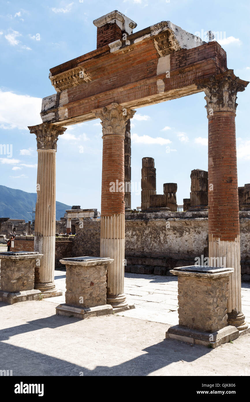 Ruins of the ancient Roman city of Pompeii on a summer's day. - Stock Image