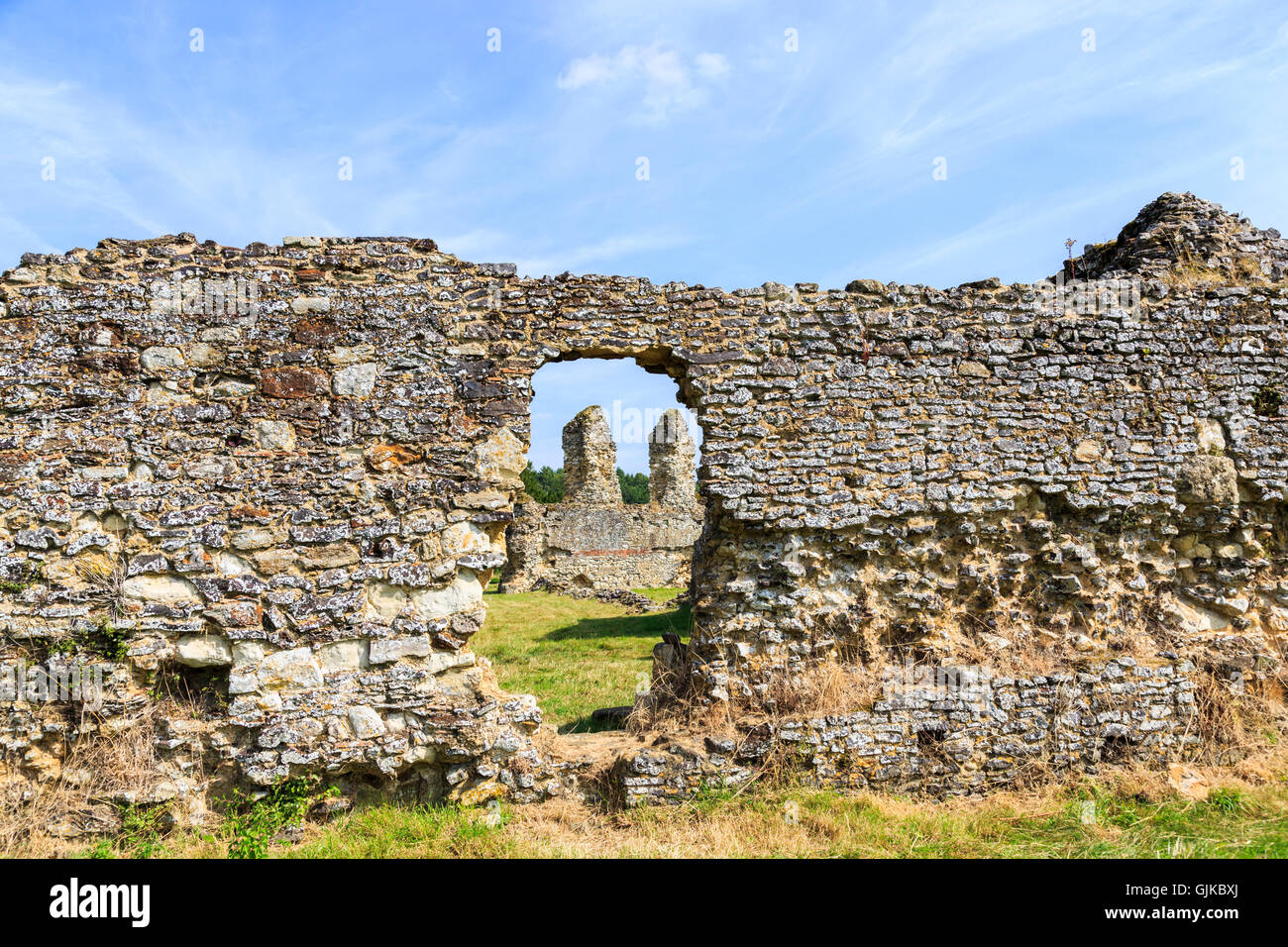 Ruins of Waverley Abbey, founded in 1128, the first Cistercian abbey in England, a Scheduled Ancient Monument, near - Stock Image
