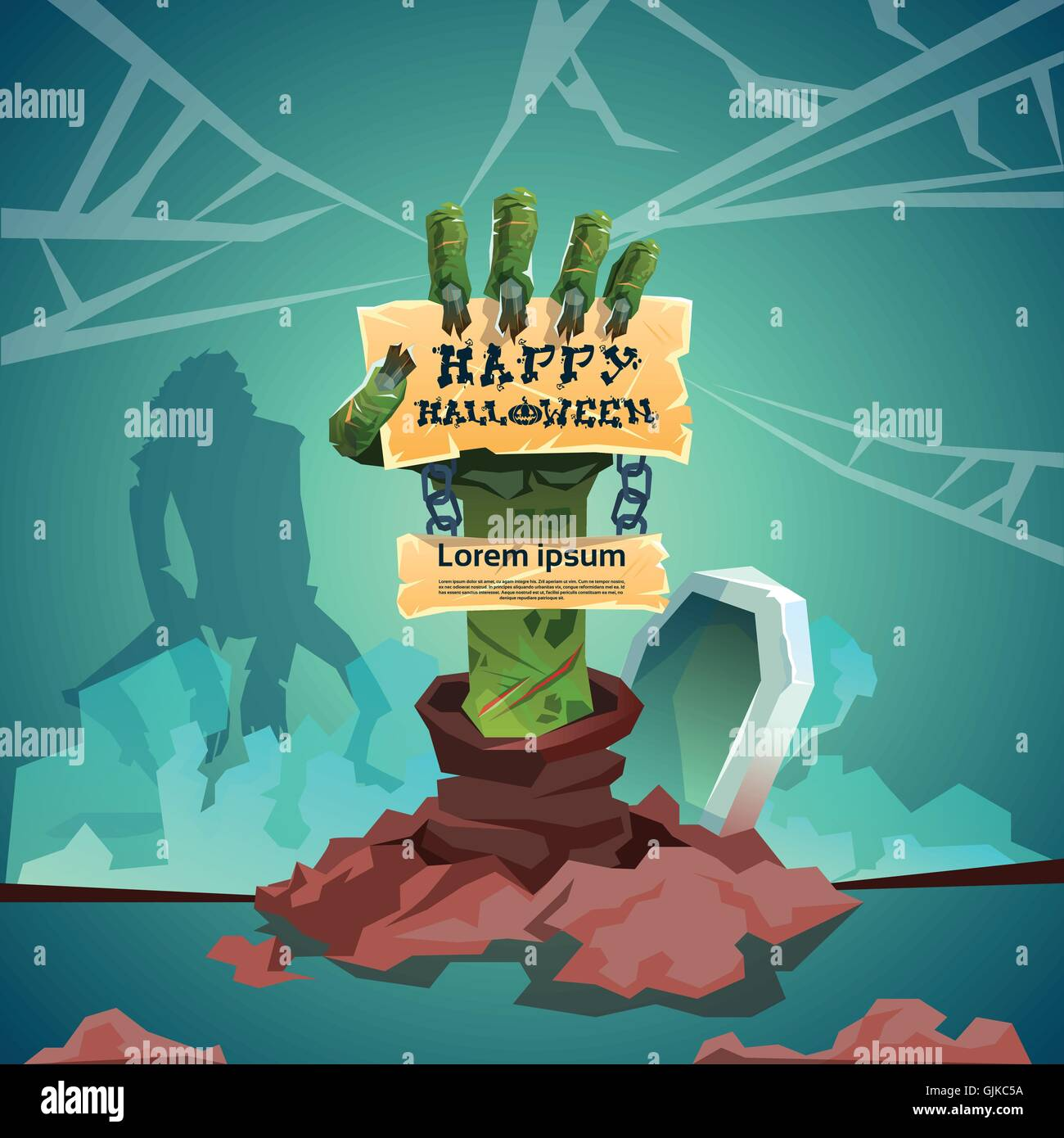 Halloween Banner Zombie Hand From Ground Party Invitation