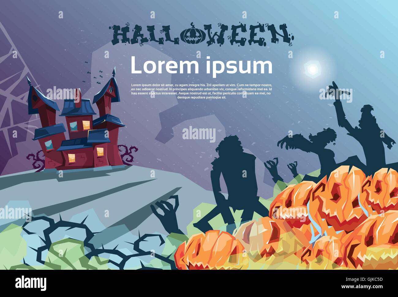 Happy Halloween Banner House With Ghosts Party Invitation