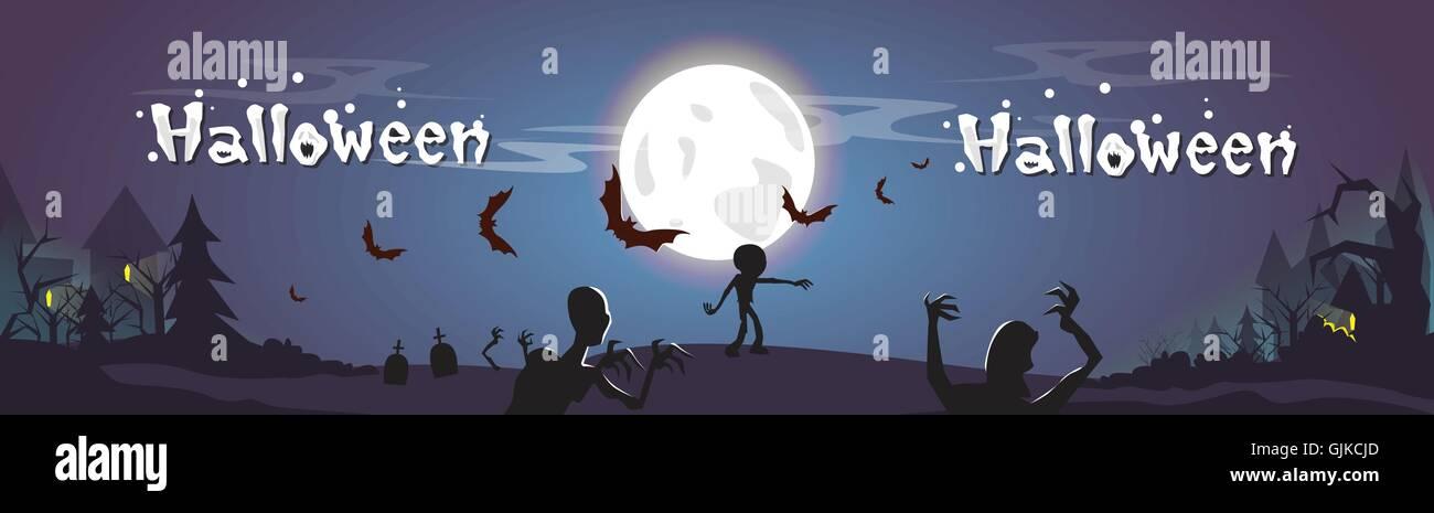 Happy Halloween Zombie Dead Skeleton Party Invitation Card