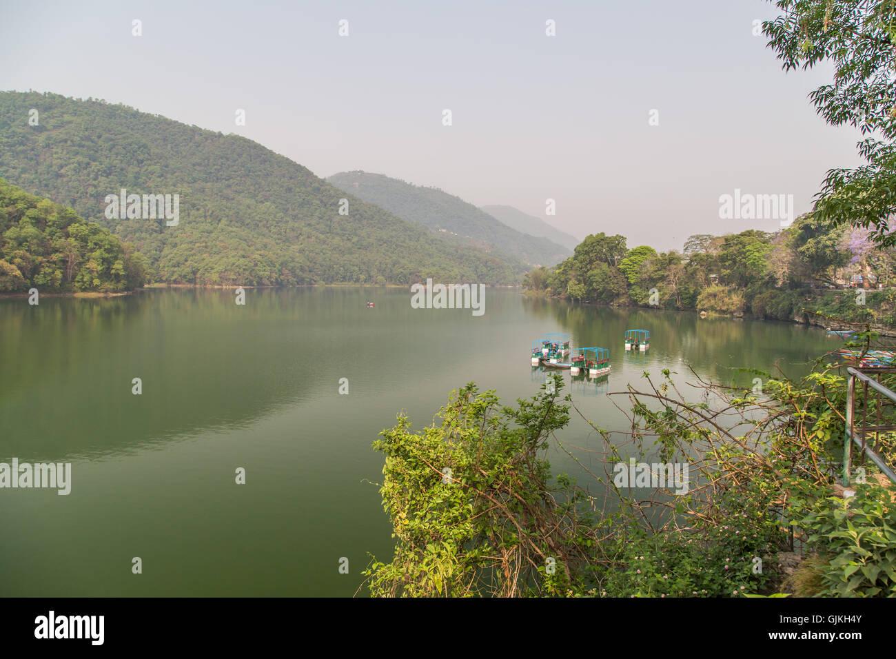 Phewa Lake Pokhara, Nepal - Stock Image