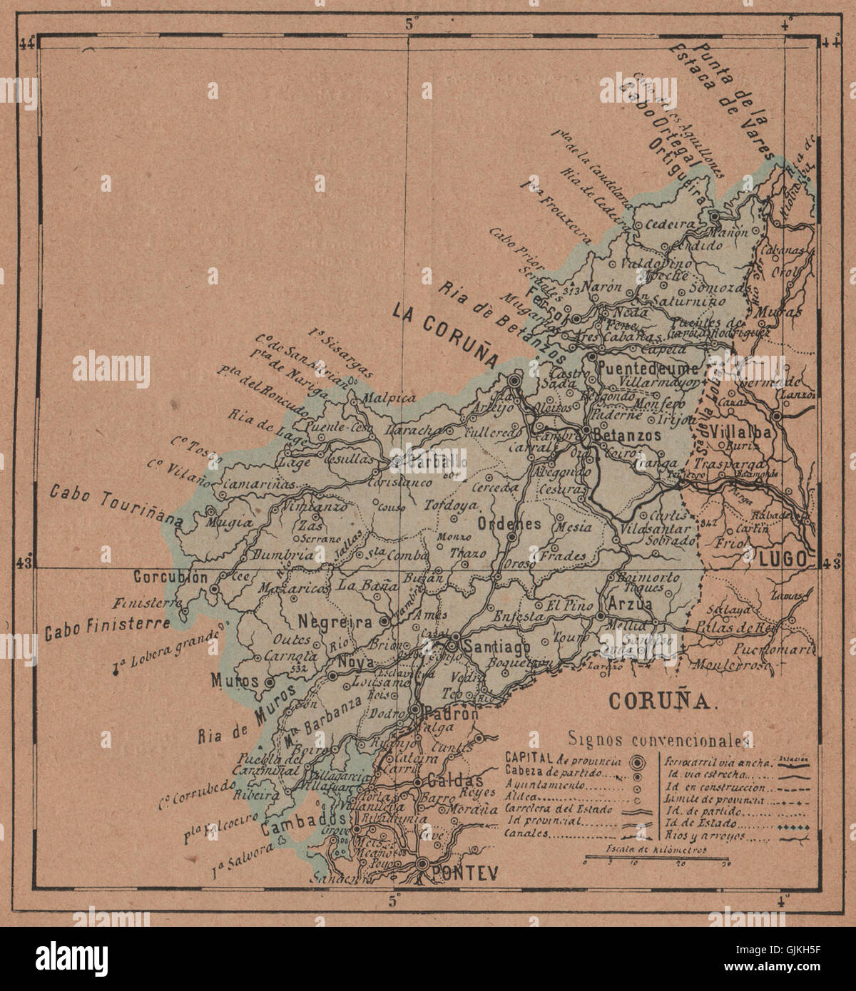 La Coruna A Coruna La Coruna Galicia Mapa Antiguo De La Stock