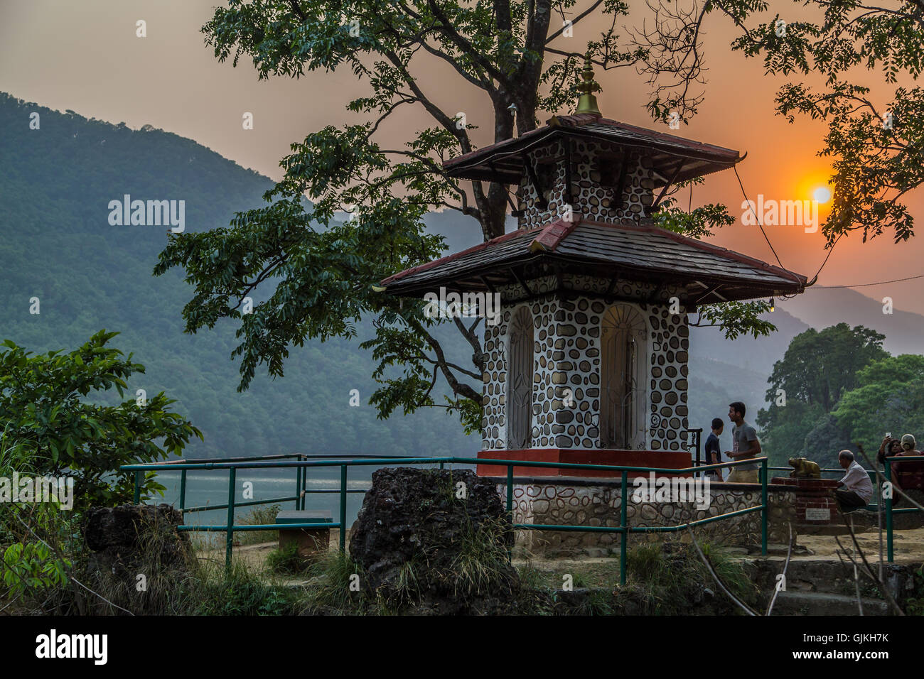 Temple at Sunset in Pokhara, Nepal - Stock Image