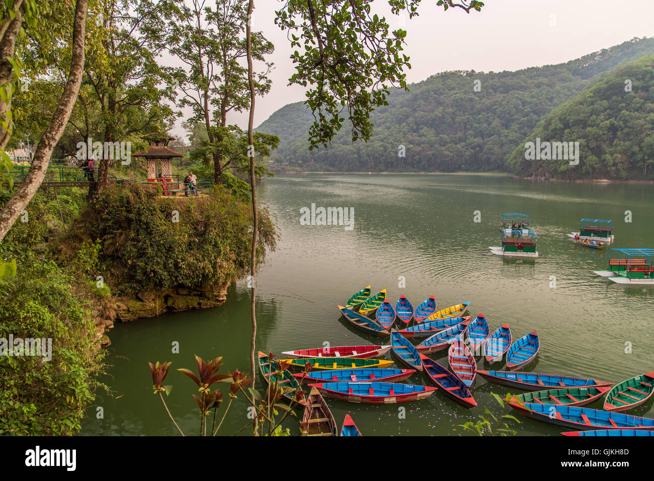 Colorful Rafts and Boats in Pokhara, Nepal - Stock Image