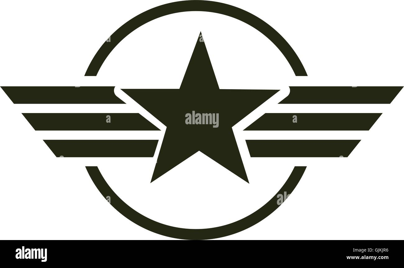 Military Star Emblem Isolated Icon Stock Vector Art Illustration