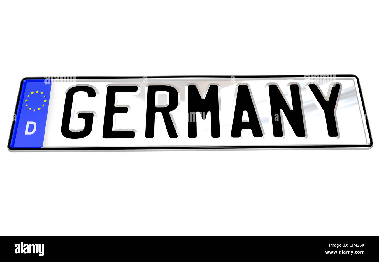 Germany Word on German License Plate for Car - Stock Image
