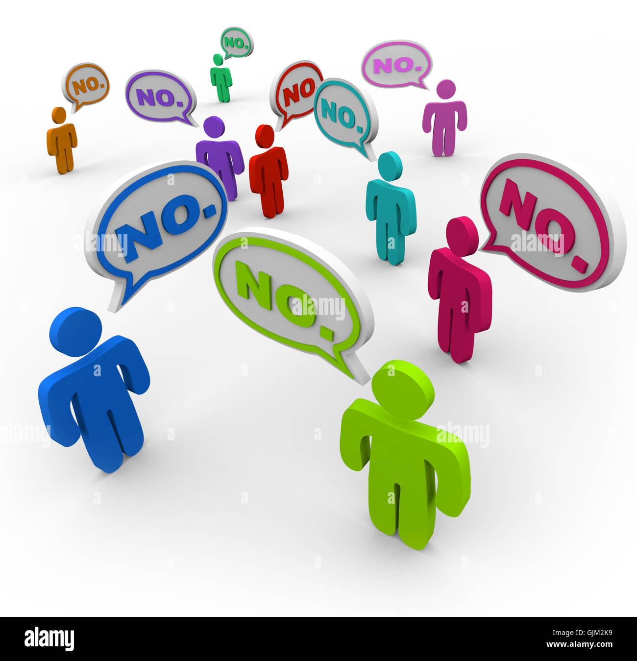 No - People Talking in Speech Bubbles Disagreement - Stock Image