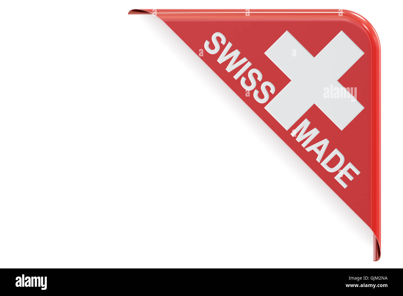 Swiss made concept, red corner. 3D rendering isolated on white background - Stock Image