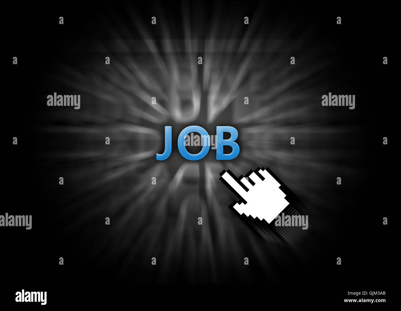 graphic illustration job hunting - Stock Image