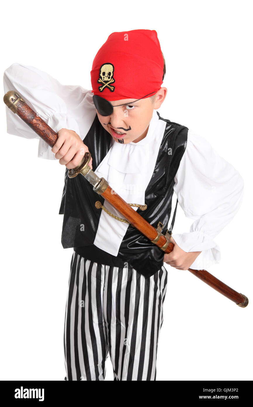 Snarling Pirate with sword - Stock Image