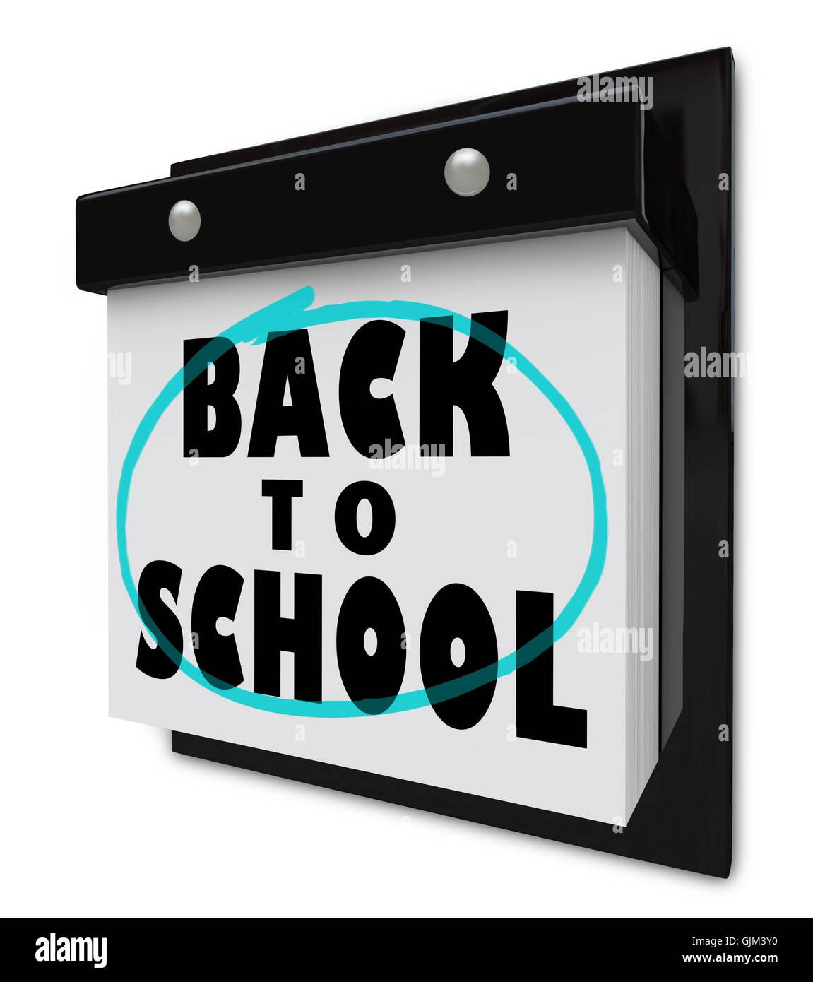 Back to School - Wall Calendar Reminder Classes Starting - Stock Image