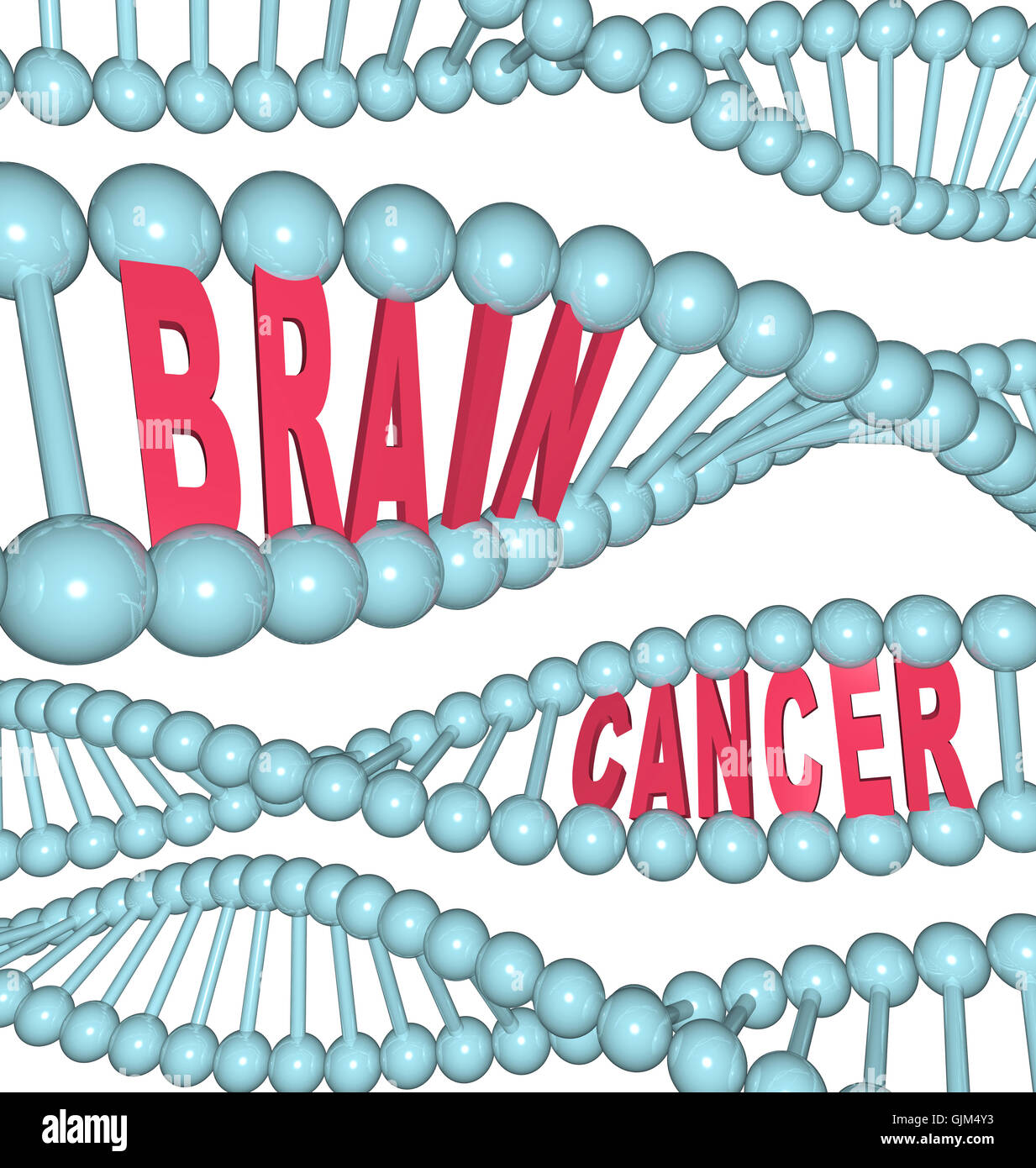 Brain Cancer Words in DNA Strand - Stock Image